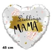 Lieblings-Mama. Herzluftballon in Weiß mit Gold, 45 cm, ohne Helium