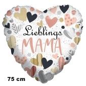 Lieblings-Mama. Herzluftballon in Weiß mit Herzen, 75 cm, mit Helium
