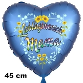 Lieblingsmensch Mama. Herzluftballon in Satinblau, 45 cm, mit Helium