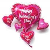 Love Cluster Luftballon aus Folie zum Valentinstag mit Helium