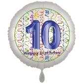 Luftballon aus Folie, Satin Luxe zum 10. Geburtstag, Rundballon weiß, 45 cm