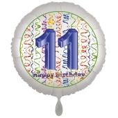 Luftballon aus Folie, Satin Luxe zum 11. Geburtstag, Rundballon weiß, 45 cm
