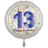 Luftballon aus Folie, Satin Luxe zum 13. Geburtstag, Rundballon weiß, 45 cm