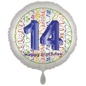 Luftballon aus Folie, Satin Luxe zum 14. Geburtstag, Rundballon weiß, 45 cm