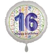 Luftballon aus Folie, Satin Luxe zum 16. Geburtstag, Rundballon weiß, 45 cm