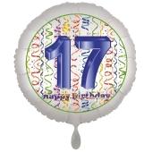 Luftballon aus Folie, Satin Luxe zum 17. Geburtstag, Rundballon weiß, 45 cm