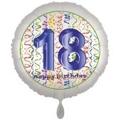 Luftballon aus Folie, Satin Luxe zum 18. Geburtstag, Rundballon weiß, 45 cm