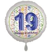 Luftballon aus Folie, Satin Luxe zum 19. Geburtstag, Rundballon weiß, 45 cm