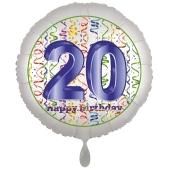 Luftballon aus Folie, Satin Luxe zum 20. Geburtstag, Rundballon weiß, 45 cm