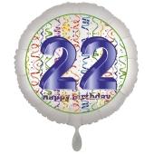 Luftballon aus Folie, Satin Luxe zum 22. Geburtstag, Rundballon weiß, 45 cm