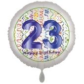 Luftballon aus Folie, Satin Luxe zum 23. Geburtstag, Rundballon weiß, 45 cm