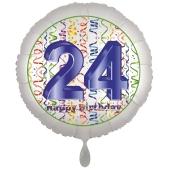 Luftballon aus Folie, Satin Luxe zum 24. Geburtstag, Rundballon weiß, 45 cm