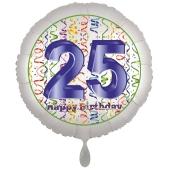 Luftballon aus Folie, Satin Luxe zum 25. Geburtstag, Rundballon weiß, 45 cm