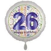Luftballon aus Folie, Satin Luxe zum 26. Geburtstag, Rundballon weiß, 45 cm