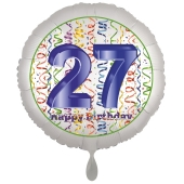 Luftballon aus Folie, Satin Luxe zum 27. Geburtstag, Rundballon weiß, 45 cm