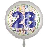 Luftballon aus Folie, Satin Luxe zum 28. Geburtstag, Rundballon weiß, 45 cm