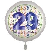 Luftballon aus Folie, Satin Luxe zum 29. Geburtstag, Rundballon weiß, 45 cm