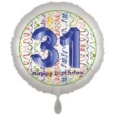 Luftballon aus Folie, Satin Luxe zum 31. Geburtstag, Rundballon weiß, 45 cm