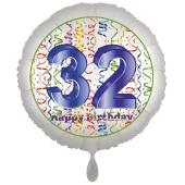 Luftballon aus Folie, Satin Luxe zum 32. Geburtstag, Rundballon weiß, 45 cm