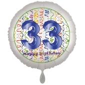 Luftballon aus Folie, Satin Luxe zum 33. Geburtstag, Rundballon weiß, 45 cm