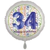 Luftballon aus Folie, Satin Luxe zum 34. Geburtstag, Rundballon weiß, 45 cm