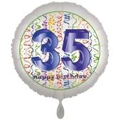 Luftballon aus Folie, Satin Luxe zum 35. Geburtstag, Rundballon weiß, 45 cm