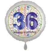 Luftballon aus Folie, Satin Luxe zum 36. Geburtstag, Rundballon weiß, 45 cm