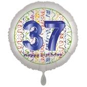Luftballon aus Folie, Satin Luxe zum 37. Geburtstag, Rundballon weiß, 45 cm