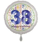 Luftballon aus Folie, Satin Luxe zum 38. Geburtstag, Rundballon weiß, 45 cm