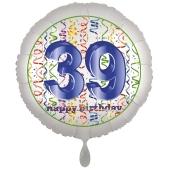 Luftballon aus Folie, Satin Luxe zum 39. Geburtstag, Rundballon weiß, 45 cm