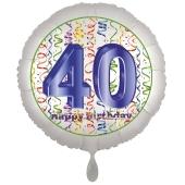 Luftballon aus Folie, Satin Luxe zum 40. Geburtstag, Rundballon weiß, 45 cm