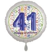 Luftballon aus Folie, Satin Luxe zum 41. Geburtstag, Rundballon weiß, 45 cm
