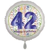 Luftballon aus Folie, Satin Luxe zum 42. Geburtstag, Rundballon weiß, 45 cm