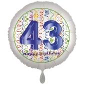 Luftballon aus Folie, Satin Luxe zum 43. Geburtstag, Rundballon weiß, 45 cm