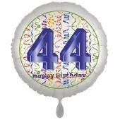 Luftballon aus Folie, Satin Luxe zum 44. Geburtstag, Rundballon weiß, 45 cm