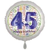 Luftballon aus Folie, Satin Luxe zum 45. Geburtstag, Rundballon weiß, 45 cm