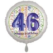 Luftballon aus Folie, Satin Luxe zum 46. Geburtstag, Rundballon weiß, 45 cm