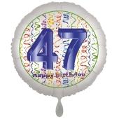Luftballon aus Folie, Satin Luxe zum 47. Geburtstag, Rundballon weiß, 45 cm