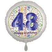Luftballon aus Folie, Satin Luxe zum 48. Geburtstag, Rundballon weiß, 45 cm