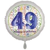 Luftballon aus Folie, Satin Luxe zum 49. Geburtstag, Rundballon weiß, 45 cm