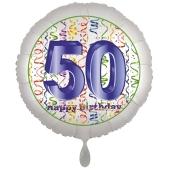 Luftballon aus Folie, Satin Luxe zum 50. Geburtstag, Rundballon weiß, 45 cm