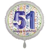 Luftballon aus Folie, Satin Luxe zum 51. Geburtstag, Rundballon weiß, 45 cm