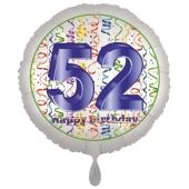 Luftballon aus Folie, Satin Luxe zum 52. Geburtstag, Rundballon weiß, 45 cm