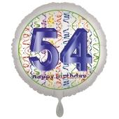 Luftballon aus Folie, Satin Luxe zum 54. Geburtstag, Rundballon weiß, 45 cm