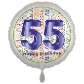 Luftballon aus Folie, Satin Luxe zum 55. Geburtstag, Rundballon weiß, 45 cm