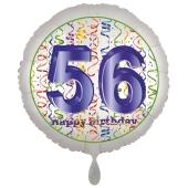 Luftballon aus Folie, Satin Luxe zum 56. Geburtstag, Rundballon weiß, 45 cm