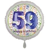 Luftballon aus Folie, Satin Luxe zum 59. Geburtstag, Rundballon weiß, 45 cm