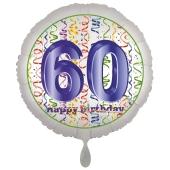 Luftballon aus Folie, Satin Luxe zum 60. Geburtstag, Rundballon weiß, 45 cm