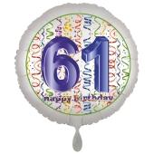 Luftballon aus Folie, Satin Luxe zum 61. Geburtstag, Rundballon weiß, 45 cm