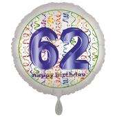 Luftballon aus Folie, Satin Luxe zum 62. Geburtstag, Rundballon weiß, 45 cm